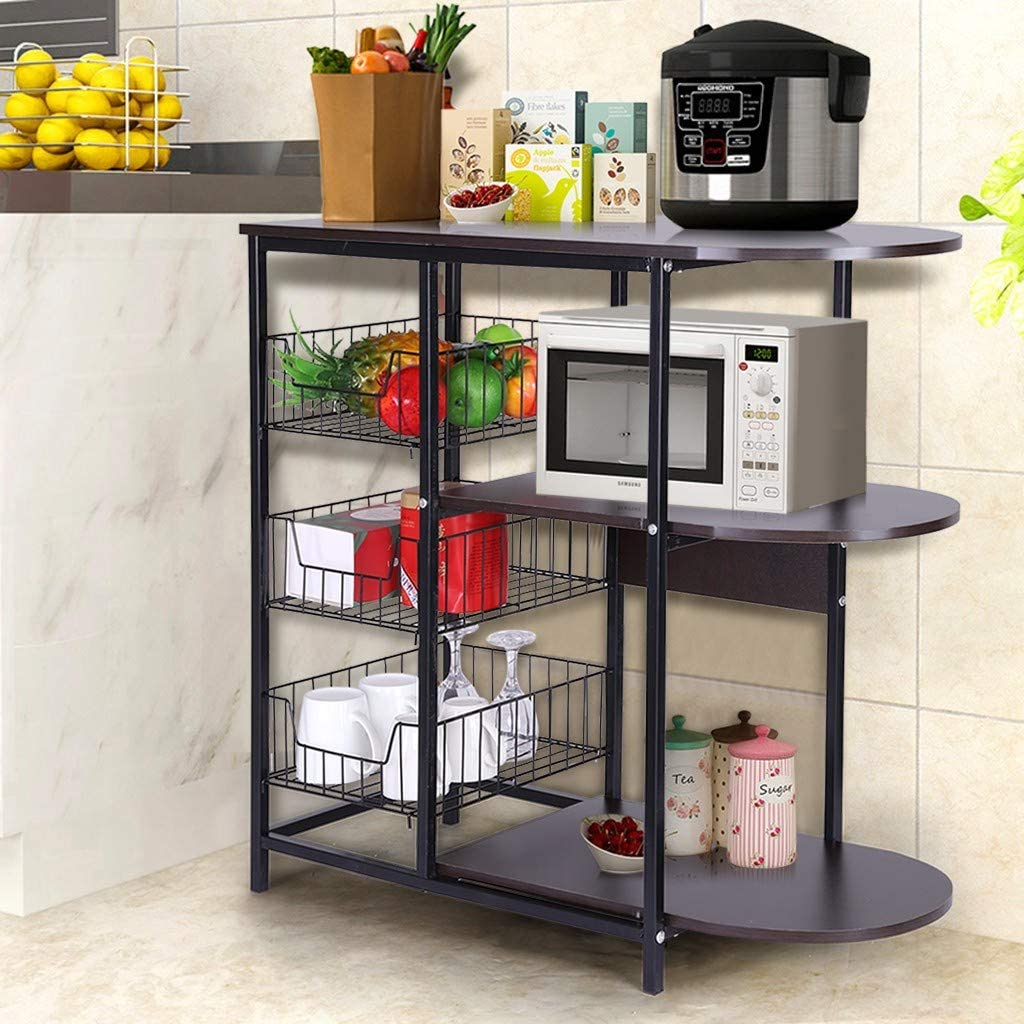 and Pans Organizer Workstation Microwave Oven Stand Workstation Shelf with Storage Wire Baskets for Spices HBEILIN Kitchen Bakers Rack Pots Black Walnut