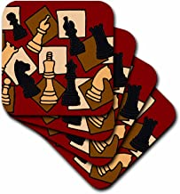 3dRose CST_200129_2 Fun Chess Game Pieces Art Abstract Soft Coasters, Set of 8