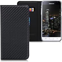 kwmobile Flip Case for Samsung Galaxy J3 (2016) DUOS - PU Leather Wallet Folio Cover with Card Slot, Stand Feature - Black