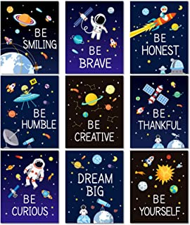 9 Pieces Space Wall Prints Unframed Space Inspirational Posters 8 x 10 Inch Planet Motivational Quote Pictures for Playroo...