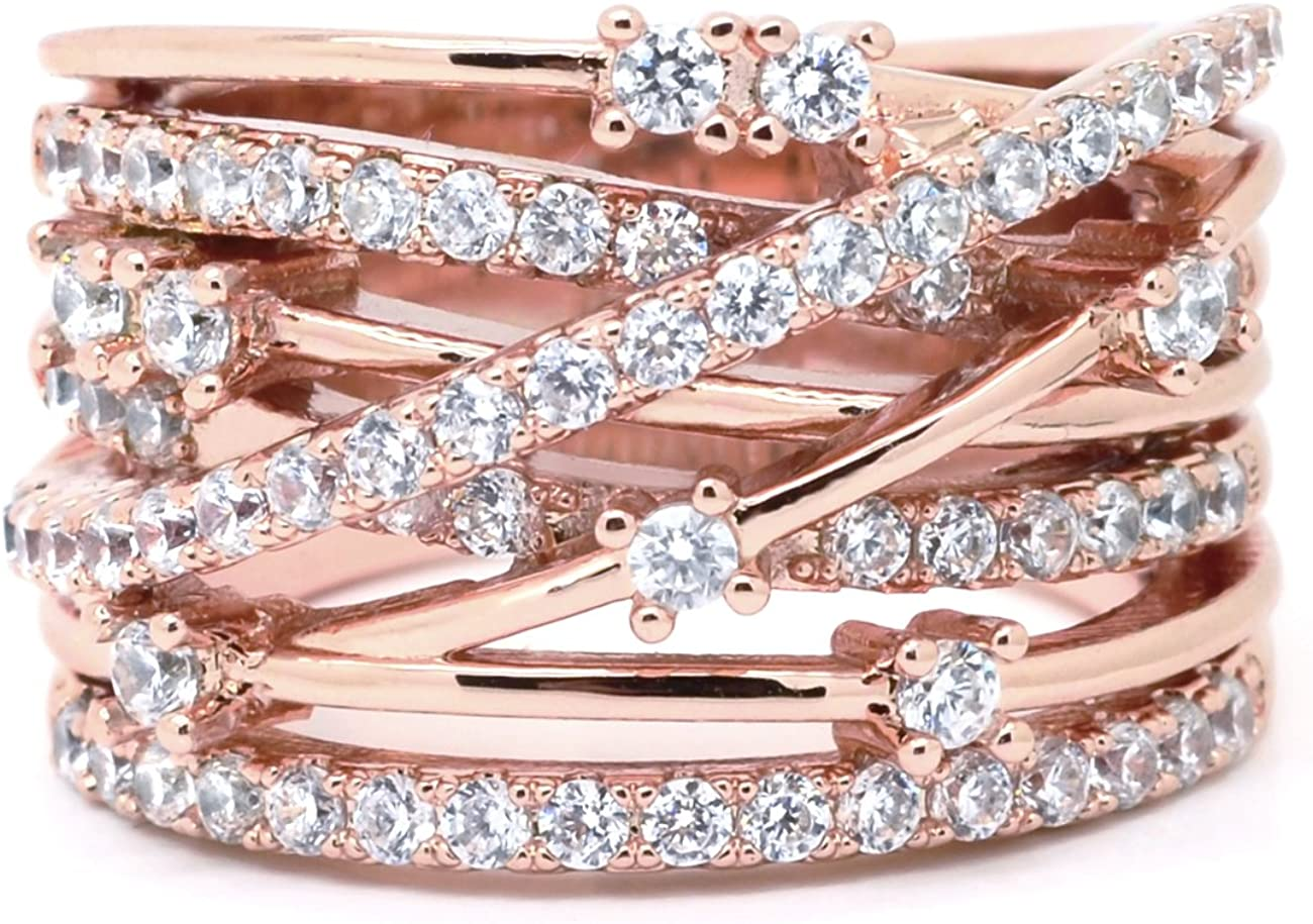 Sparkly Bride CZ Fashion Statement Ring Pink Rose Gold Plated Crossover Wide Band Women