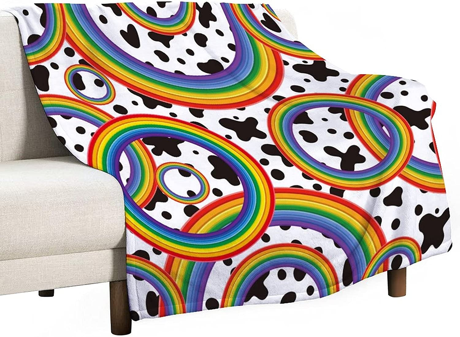 Diuangfoong Flannel Blanket Rainb Single-Sided Max 49% OFF Printing NEW before selling ☆