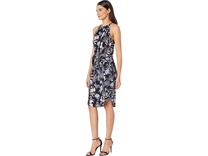 1.state Paisley Campos Halter Cuello Tie Front Dress Blue Night Multi Dresses