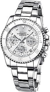 Womens Watches Chronograph Stainless Steel Waterproof Date Analog Quartz Unisex Watch Business...