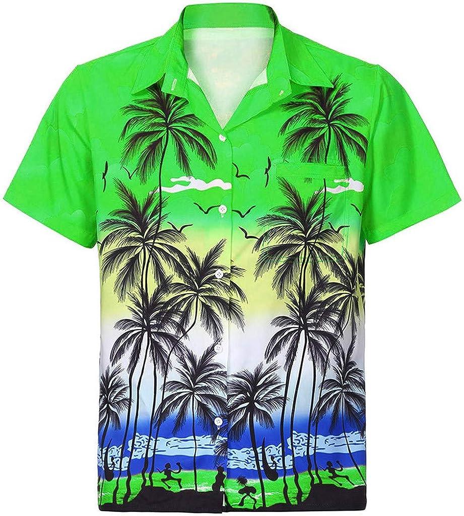 Fashion Hawaii Print Shirt Beach Short Sleeve Quick Dry Men's Casual Button Top