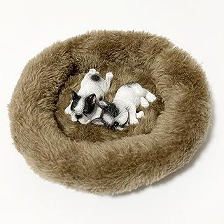 (moin moin) フィギュア マグネット 犬 わんこ ふわふわ ベッド付 ドッグ リアル 本物そっくり 磁石 ( すやすや フレンチブルドッグ( パイド ) 2匹 )