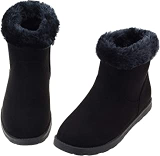 Vonair Girls Fuzzy Warm Winter Short Boots with Furry Faux Fur Lining Bootie Shoes for Toddler Little Big Kids Girls