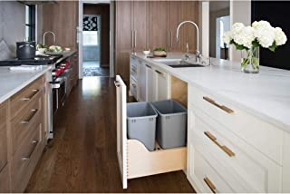 Rev-A-Shelf 4WCSC-1835DM-2 Double 35 Quart Pull Out Waste Trash Bin Container for 18-Inch Base Kitchen Cabinet with 15-Inch Opening, Natural & Gray
