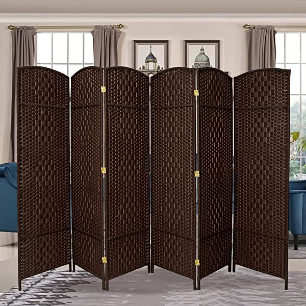 RHF 6 Ft Tall Extra Wide Diamond Weave Fiber Room Divider Double Hinged 6 Panel Room Divider Screen Room Dividers And Folding Privacy Screens 6 Panel Freestanding Room Dividers Dark Coffee 6 Panel