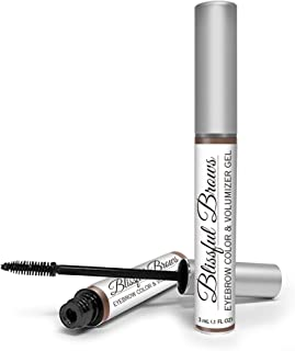 Blissful Brows by Hairgenics – One Step Long Lasting Tinted Eyebrow Gel Infused with Fibers for Thick and Full Brows (Dark Brown)
