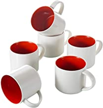 Panbado KT061 Porcelain Chunky Mugs Ceramic Coffee and Tea Cups for Gift or Daily Use, 12.5 ounce, Red