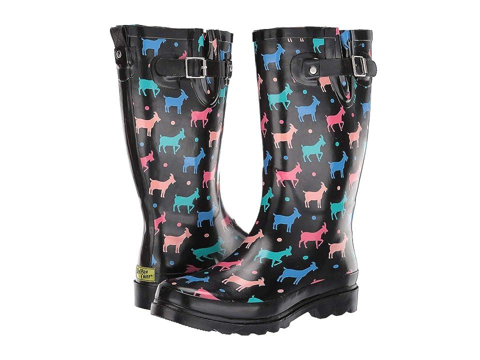 Western Chief Dotty Goats Rain Boot (Black) Women