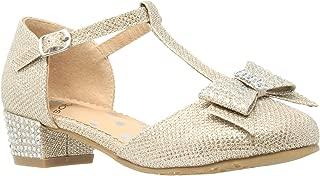 Girls Low Heels Pumps T-Strap Bow Accent Glitter Rhinestone Mary Jane Kids Sandals