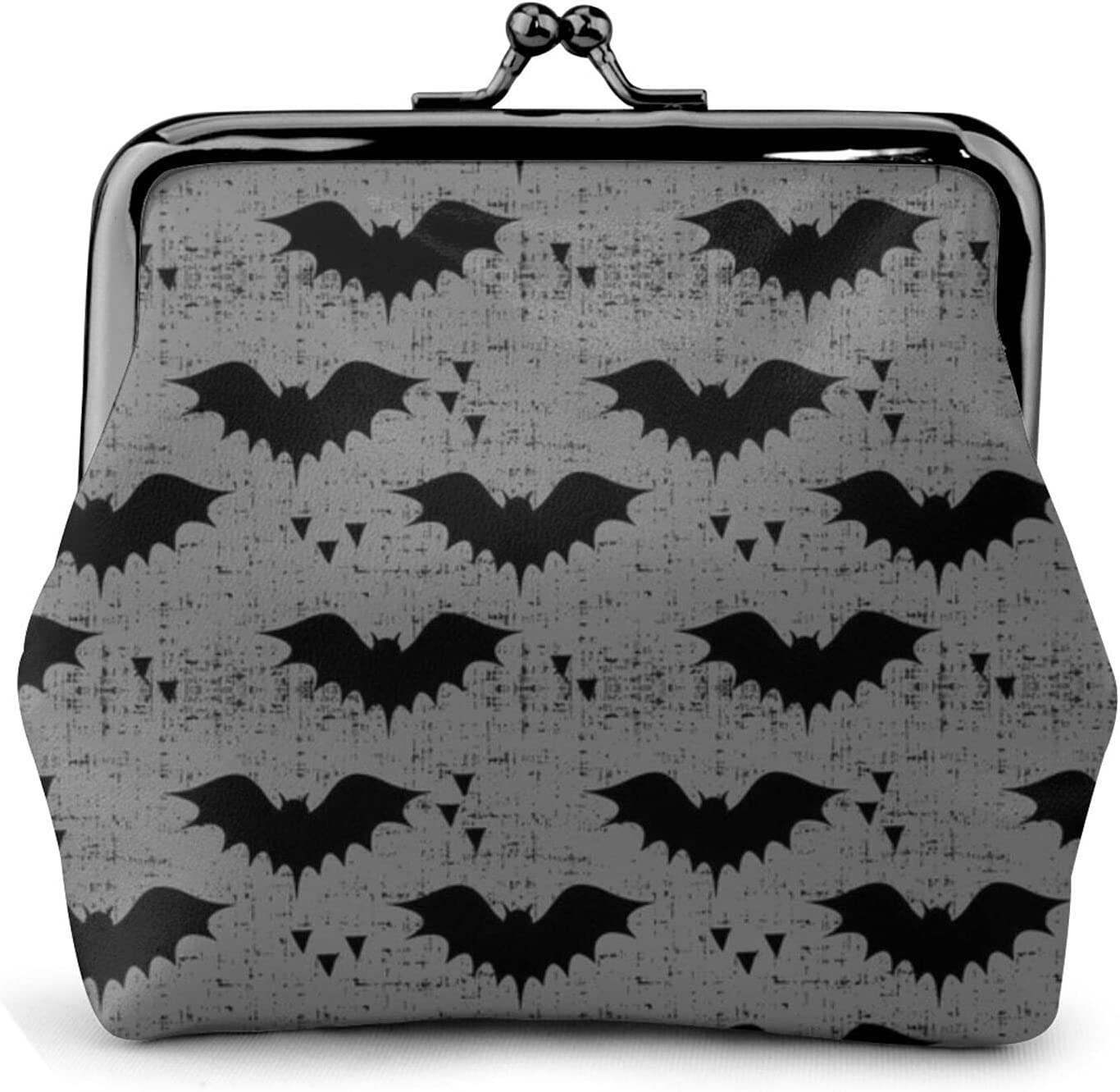 Bats Grey With 272 Coin Purse Retro Money Pouch with Kiss-lock Buckle Small Wallet for Women and Girls