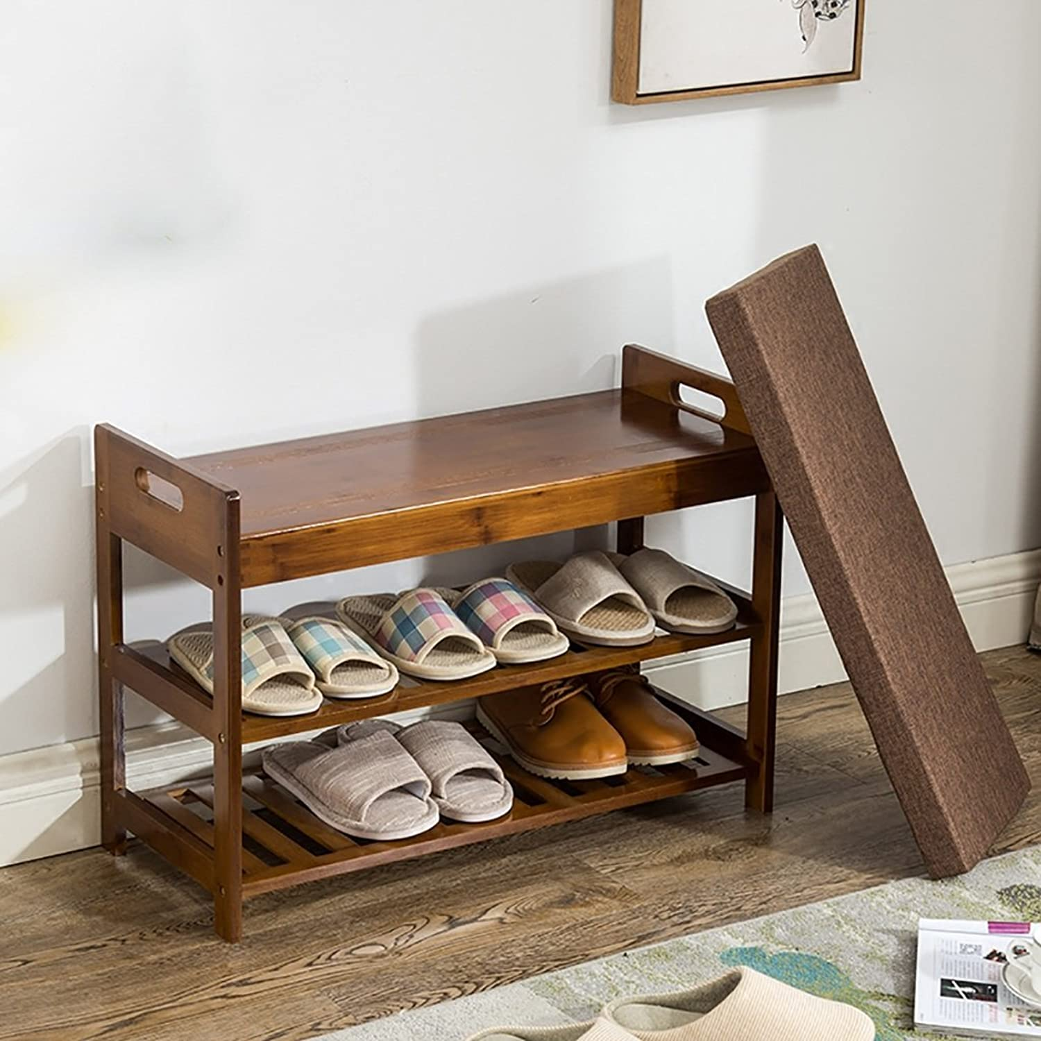 shoes Bench Organizing Rack Bamboo shoes Rack shoes Bench Door Locker Sofa Test shoes European Modern Minimalist Wood shoes Stool (Size   50cm)