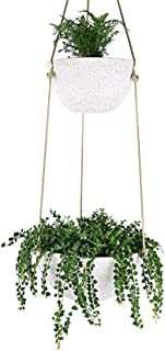 LA JOLIE MUSE Hanging Planters for Indoor & Outdoor Plants - Modern Flower Pots with Rope, Garden Planters with Drain Hole...