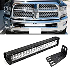 iJDMTOY Lower Grille 20-Inch LED Light Bar Kit For 2009-18 Dodge RAM 2500 3500 HD, Includes (1) 120W High Power LED Lightbar, Lower Bumper Opening Mounting Brackets & On/Off Switch Wiring Kit