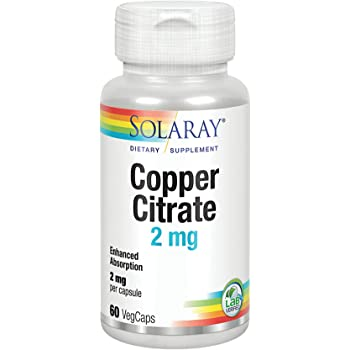 Solaray Biocitrate Copper Supplement, 2mg | 60 Count