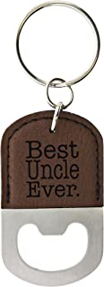 ThisWear for Uncle Best Uncle Ever Leather Bottle Opener Keychain Key Tag Brown