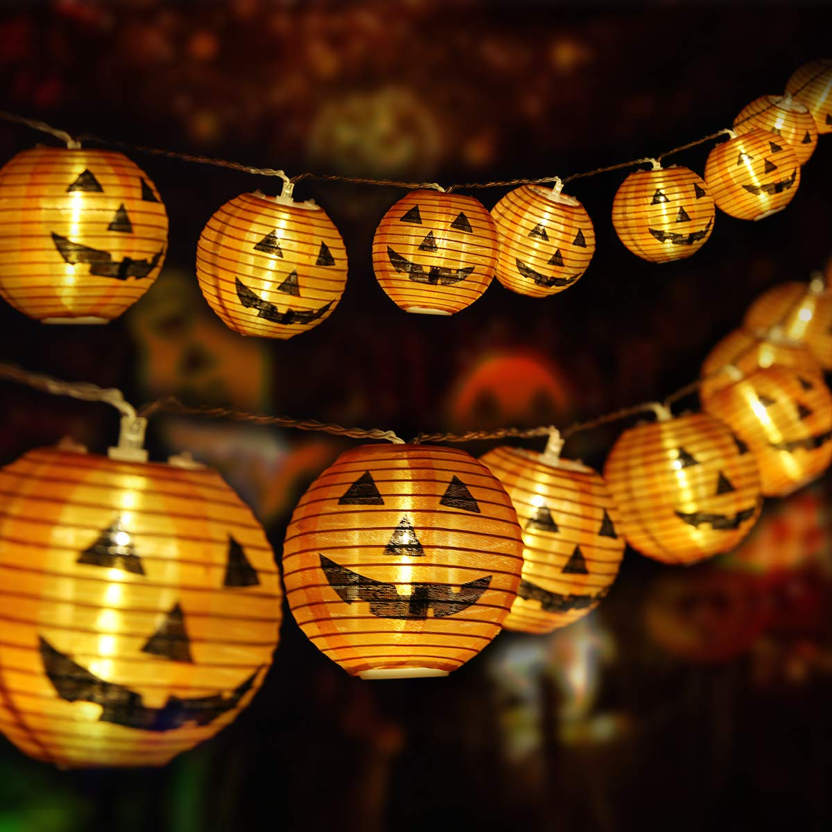 Halloween 3D Pumpkin Strip Light 20 PCS Halloween Decoration LED Lights Powered by Battery Indoor Outdoor Halloween Christmas Festival Decoration