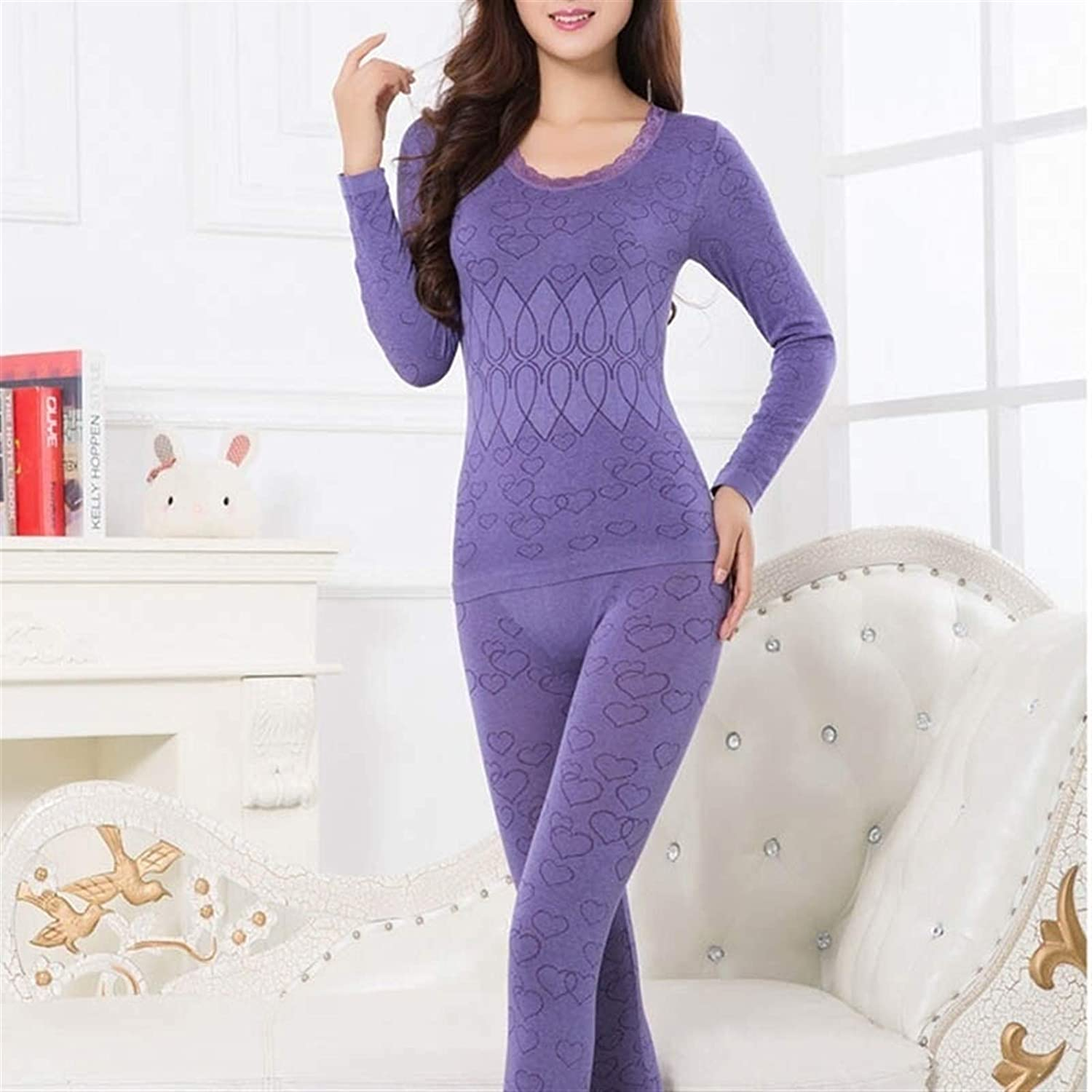DZHT Women Warm Thermal Underwear Woman Long Sleeve Thermal Clothing Underwears Sets (Color : Purple, Size : One Size)
