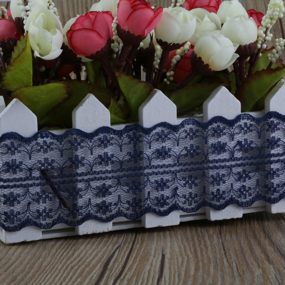 10 m/ètres Vintage Style dentelle ruban de mariage nuptiale bord festonn/é 47mm Navy Blue