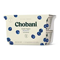 Chobani Non-Fat Greek Yogurt, Blueberry on the Bottom 5.3oz, 4-pack
