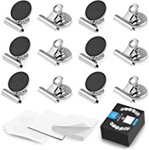 Zulay Set of 12 Magnets for Whiteboard & Refrigerator - Strong Magnetic Clips for Refrigerator with Notepad - Non-Scratch Steel Whiteboard Magnets & Magnet Clips for Fridge, Home, Kitchen & Office