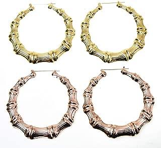 Monrocco 2 Pairs Bamboo Earrings Gold Tone Bamboo Style Pincatch Hoop Earring