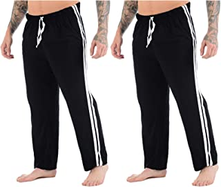 Mens Lounge Pants Plain Nightwear Elasticated Waist Striped Jog Jogging Tracksuit Bottoms Poly Cotton Pyjama Pjs Joggers S...