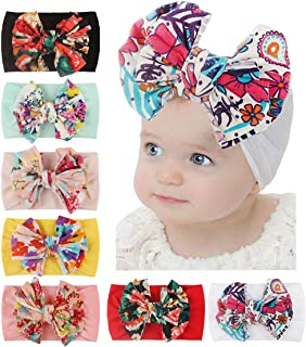 Baby Girl Bows Headbands Hair Accessories for Newborn Infant Toddler Girls' Shower (Boheme-7Pcs)