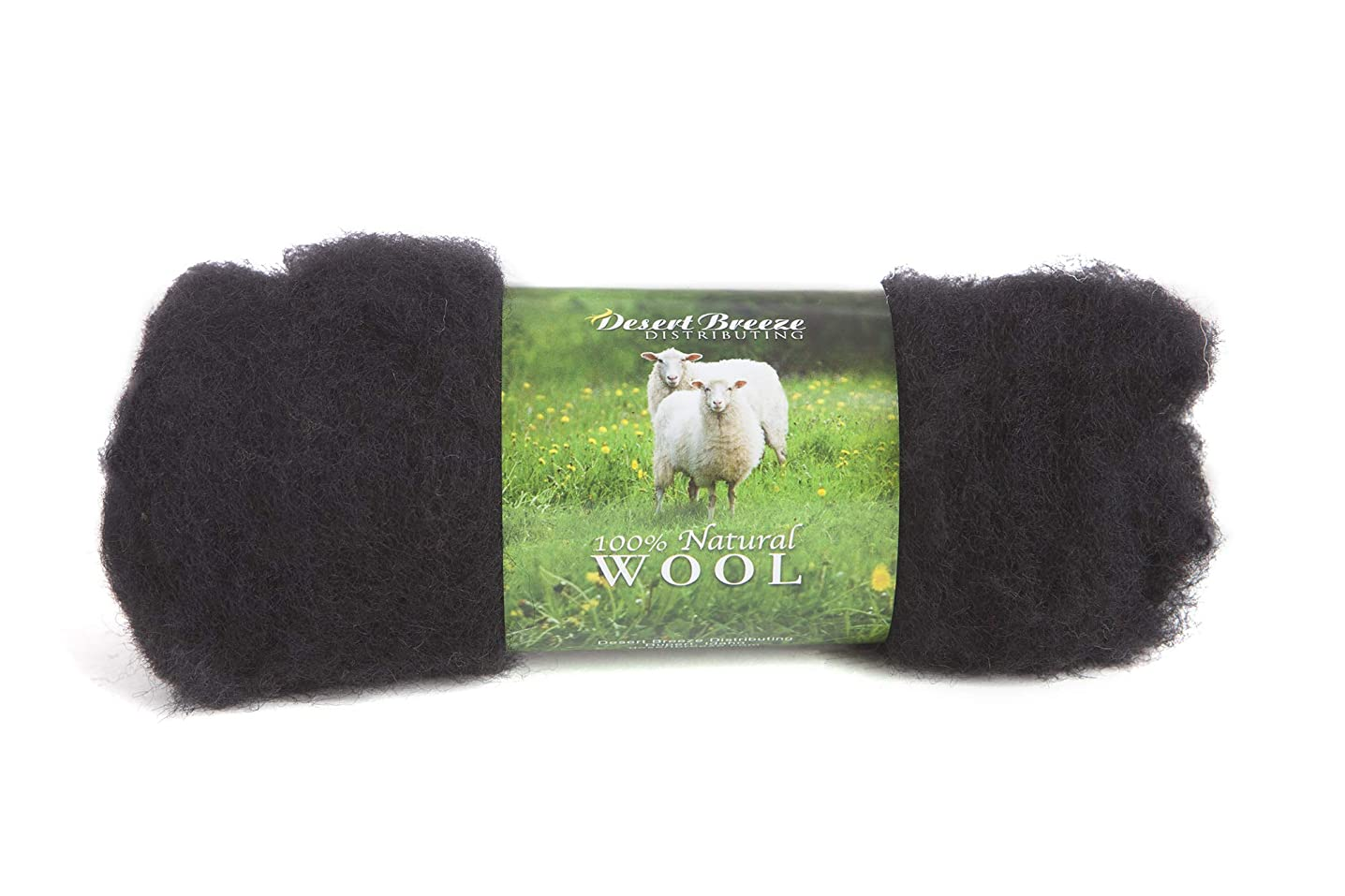 Maori Wool - A Special Blend of New Zealand Wools by DHG for Needle Felting and Wet Felting, 1 OZ Carded Wool Batt, 100% Pure Wool, Color Ebony Black