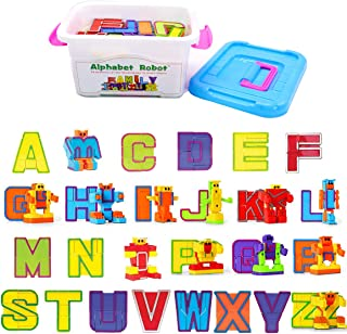 26 Pieces Alphabet Robot Transformer Action Figure Autobots Toys for Kids ABC Learning, Birthday Party, School Classroom Rewards, Carnival Prizes, Pre-school Education Toy, Montessori Teaching Toy