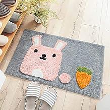 ESUPPORT Funny Doormat Lovely Pink Bunny Door Rug Outdoor Indoor Entryway Kitchen Floor Non Slip Mats Rabbit Carrot Carpet...