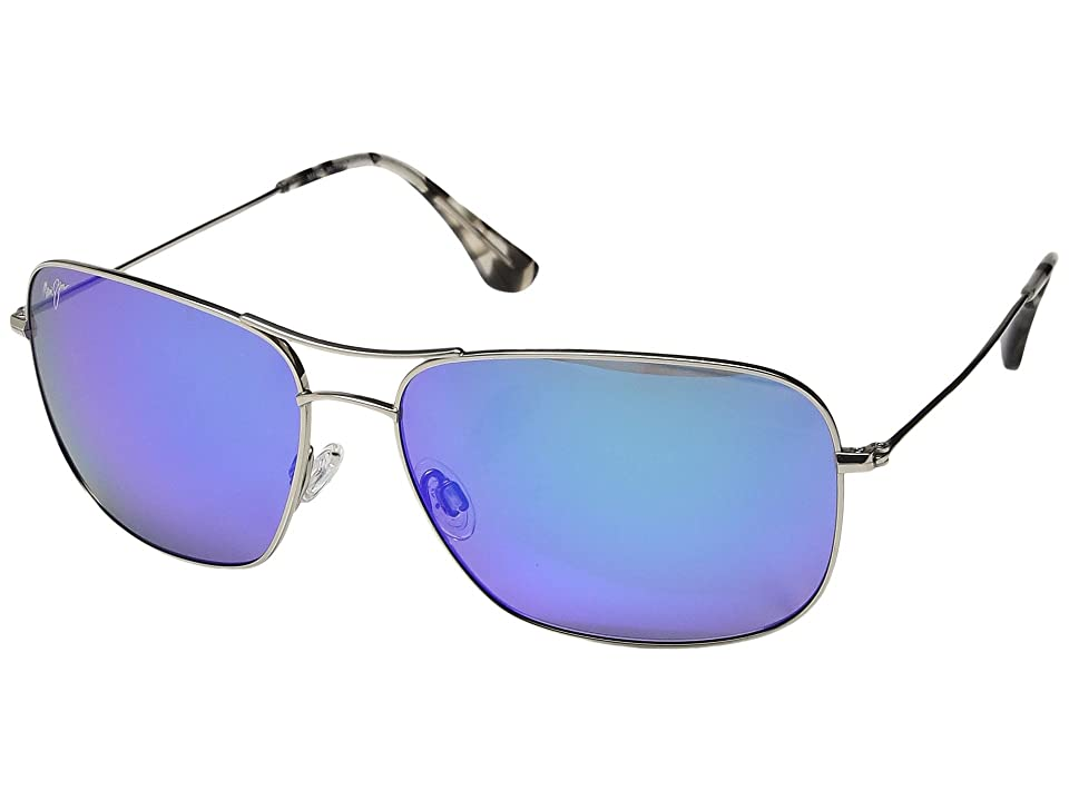 Maui Jim Breezeway (Silver/Blue Hawaii) Athletic Performance Sport Sunglasses