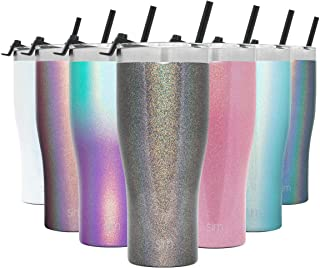 Simple Modern 32oz Slim Cruiser Tumbler with Straw & Closing Lid Travel Mug - Gift Double Wall Vacuum Insulated - 18/8 Stainless Steel Water Bottle Shimmer: Obsidian