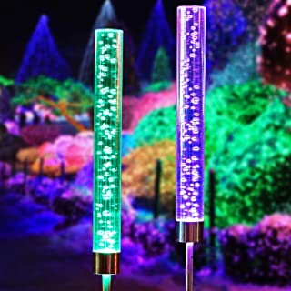 Doingart 2pcs Garden Solar Lights Outdoor Solar Tube Lights Solar Acrylic Bubble RGB Color Changing Solar Powered Garden Stake Lights for Gard Stake Lights for Garden Patio Backyard Pathway Decoration