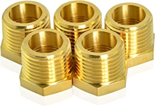 "Taisher 5PCS Brass Reducer Hex Bushing Threaded Pipe Fitting 3/8"" NPT Male x 1/4"" NPT Female Adapter"