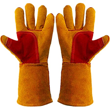 Work Gloves Leather Gardening Glove (1 Pair) 14 inch for Men Women Cowhide Reinforced Protection Padding Palm Animal Handling Bite Proof Thorn Dog Cat Scratch(Brown)