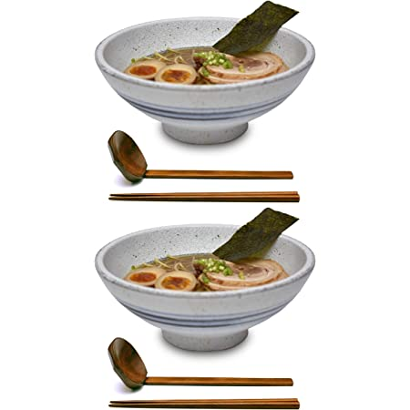 Kanwone Ceramic Japanese Ramen Bowl Set Black 60 Ounce Set of 2 Soup Bowls with Matching Spoons and Chopsticks for Udon Soba Pho Asian Noodles