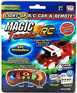 Magic Deluxe Tracks Car Only with Remote Control for Girls and Boys, Fire Truck, Fire Racer, Racer, Le Mans, Muscle Car, Police Car, As Seen on TV, (Cars May Vary)