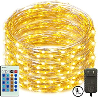 RcStarry(TM){300LED 99Ft}Dimmable String Lights,300 LED Starry String Lights on 99Ft Silver Wire + Power Adapter with Multi-Function Remote Controller for Christmas, Weddings, Parties(Warm White)