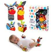 BBS Baby Wrist Rattle Baby Socks, Animal Toys Set Soft Animal Toy Suitable for Kids