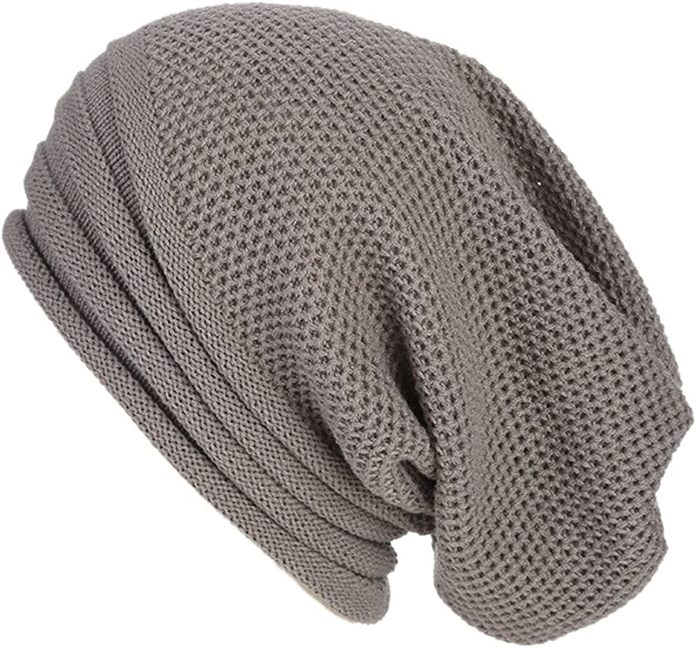 Mens Trendy Long Oversized Beanie Chunky Soft Cable Knit Hat Slouchy Skull Caps for Summer Winter