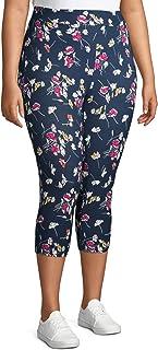 Women's Plus Size Super Soft Sueded Printed Capri Leggings (3X, Blue Cove Ditsy Floral)