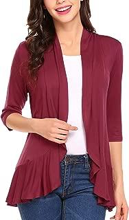 Zeagoo Women's Open Front Cardigan 3/4 Sleeve Draped Ruffles Soft Knit Sweaters