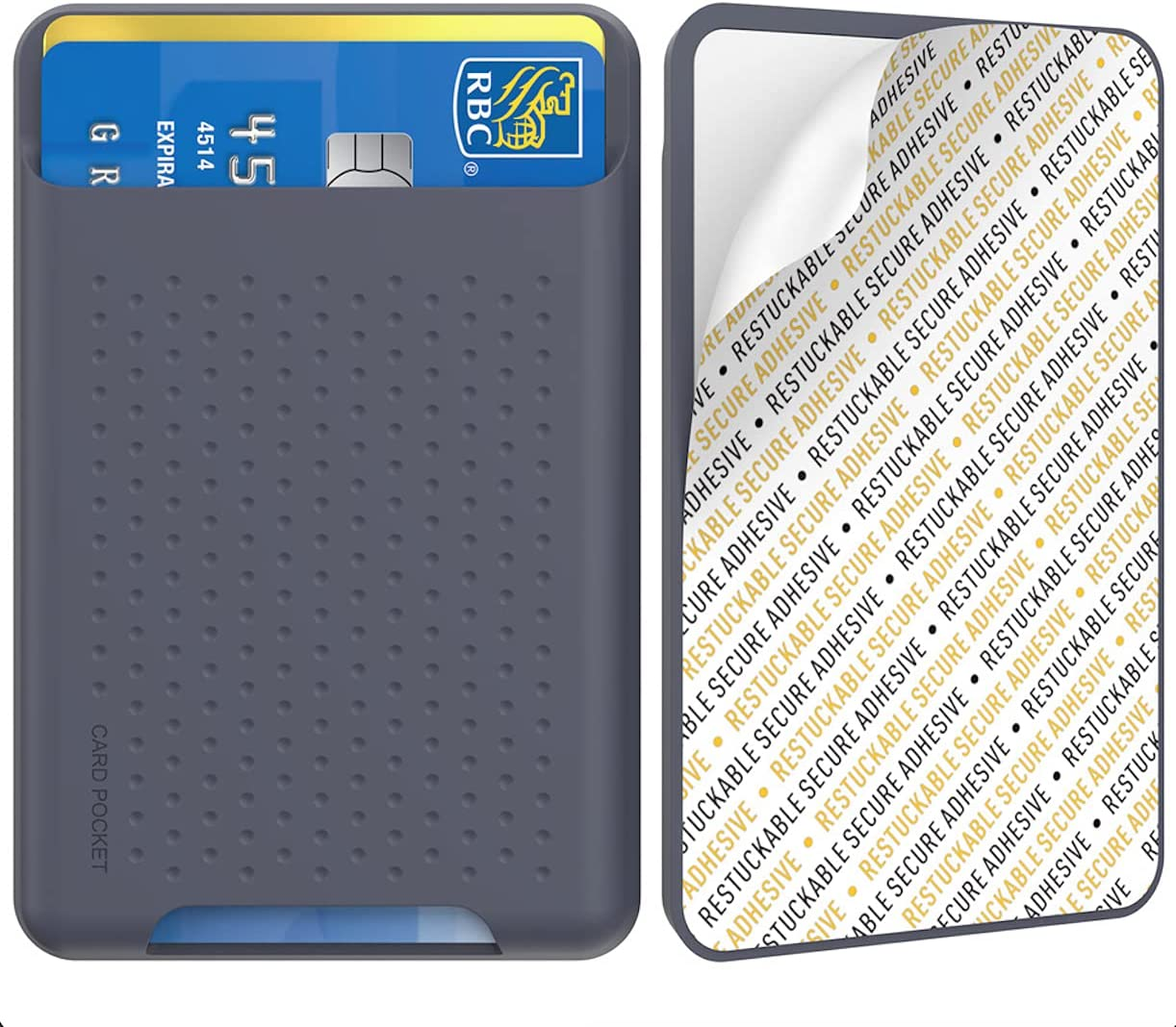 Phone Credit Card Holder Stick On, Slim Phone Wallet Strong Adhesive Silicone Card Pouch Sleeve Compatible with iPhone/Android/Samsung Galaxy