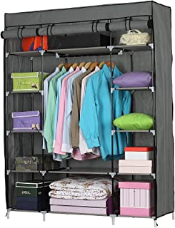 Portable Clothes Closet Wardrobe, Cloth Storage Organizer Shelf with Non-Woven Fabric Cover Waterproof, Freestanding Clothes Cabinet Shelf with 5 Tiers and 12 Compartment, Gray