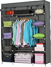 Lesmin 5-Layer 12-Compartment Non-Woven Fabric Wardrobe Portable Closet Gray (133x46x170cm)