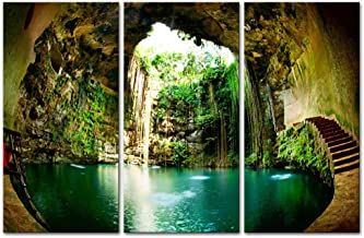 Wall Art Decor Poster Painting On Canvas Print Pictures 3 Pieces Fantastic Ik-Kil Cenote Chichen Itza Mexico Landscape Cave Framed Picture for Home Decoration Living Room Artwork